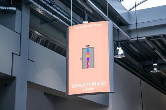 elevator music poster mockup