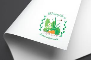 RA training logo paper mockup
